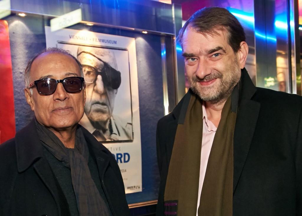 Abbas Kiarostami, poster boy John Ford, Film Museum director Alexander Horwath. Photo: Viennale/Alexander Tuma.