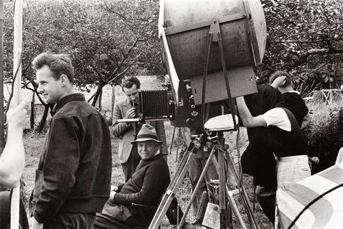 Jacques Becker, Jean Renoir & Henri Cartier-Bresson on the set of Henri Cartier-Bresson, Jean Renoir and Jacques Becker on the set of Partie de campagne (1936)